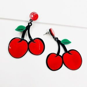 Jaylee Twin Cherry Acrylic Retro Earrings